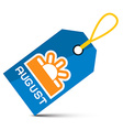 August Blue Tag with String and Sun Symbol vector image