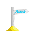 isolated of white wooden pointer to the beach vector image