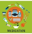 Medication icons with drugs and tools vector image