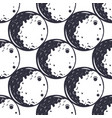 Moon seamless pattern monochrome vintage hand vector image