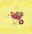 shabby chic banner with yummy pickled foods on vector image vector image