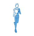 woman training run with wearable technology vector image