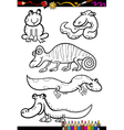 cartoon animals set for coloring book vector image