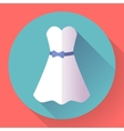 White dress - classic fashion Icon in the flat vector image