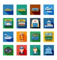 Passenger Transportation Flat Square Icons vector image