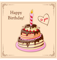 Birthday vintage card with cake tier vector image