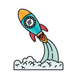 Colored crayon silhouette of space rocket launch vector image