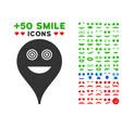 crazy smiley map marker icon with bonus emoticon vector image