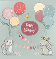 cute hares with balloons vector image