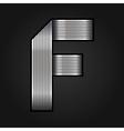 Letter metal chrome ribbon - F vector image