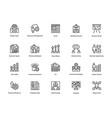 project management line icons set 25 vector image