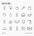 set of fruits and vegetables thin line icons vector image