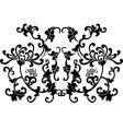 black floral curves silhouette ornament vector image
