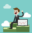 businessman or manager is sitting on a big pile of vector image vector image