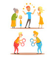 young man juggling with oranges before his family vector image