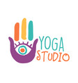 yoga studio logo colorful hand drawn vector image