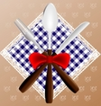napkin spoon knife and fork vector image