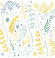 floral seamless pattern with linear plants and vector image