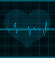 electrocardiogram blue waves with heart symbol vector image