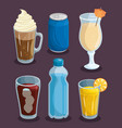 colorful beverages design vector image