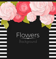 paper flowers background with stripped frame vector image