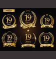 anniversary golden laurel wreath 19 years vector image vector image
