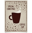 Fun vintage Christmas dark coffee cup vector image vector image