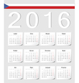 Czech 2016 calendar with shadow angles vector image vector image