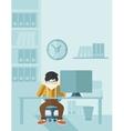 Overworked businessman is under stress vector image