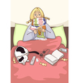sick young woman in the bed vector image