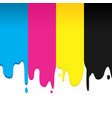 cmyk paint dripping graphic background vector image