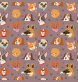 dogs cute pets heads avatar face seamless pattern vector image