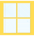 Four different pieces of paper on a yellow vector image