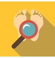 Magnifying glass over the foots icon flat style vector image