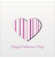Modern Pink Striped Valentine Heart vector image