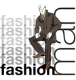 Sketch fashion handsome business man vector image vector image