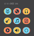 music icons set collection of lyre sound cd and vector image
