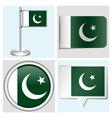 Pakistan flag - sticker button label flagstaff vector image