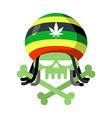 Rasta skull with dreadlocks and Rasta Cap Green vector image