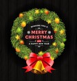 Christmas wreath frame and typography design vector image vector image