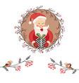 holiday card with funny santa claus and garland vector image
