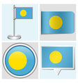 Palau flag - sticker button label flagstaff vector image vector image
