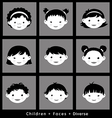 set cute faces ethnic children flat style vector image vector image