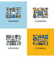 icons of workshop e-learning education tutorials vector image