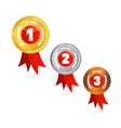 Medals Gold Silver Bronze First Second Third vector image