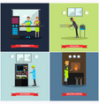 set of factory posters in flat style vector image