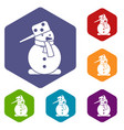 snowman icons set vector image