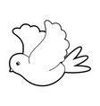 sketch silhouette image side view dove bird flying vector image