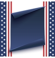 Blue curved paper banner on top of American vector image