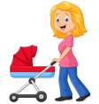 Cartoon a mother pushing a baby stroller vector image